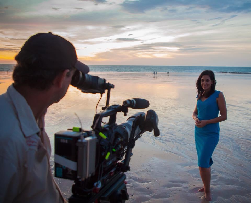 Del Irani reporting on the beach